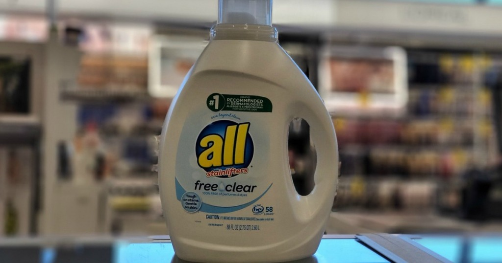 All Free & Clear Laundry Detergent on Walgreens shelf
