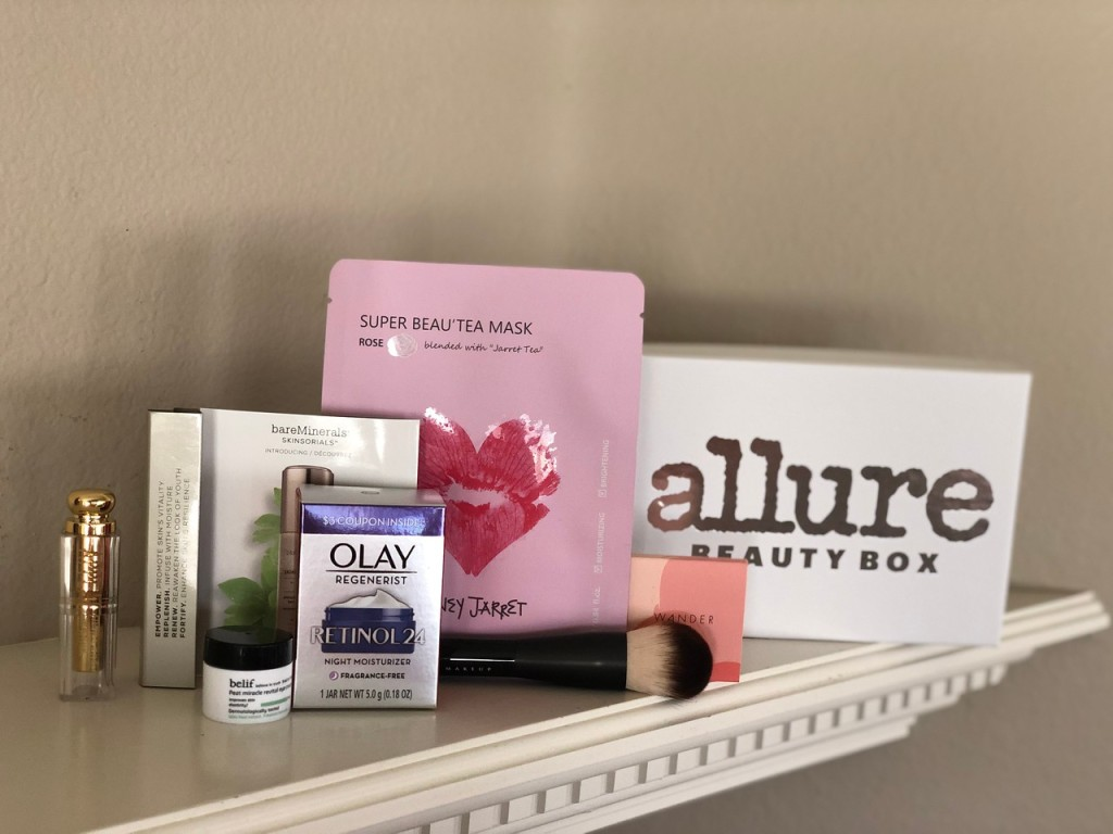 Allure February Box with contents shown