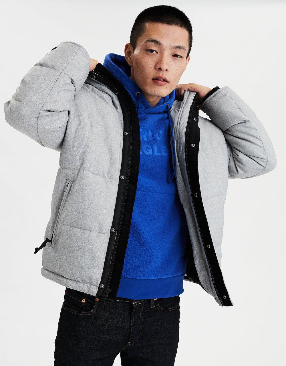 Young man wearing American Eagle Men's Puffer Jacket