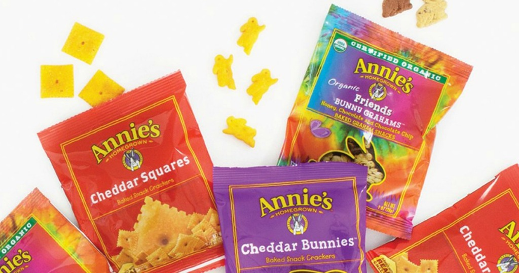 Annie's Snack Mix bags with treats spilling out the top