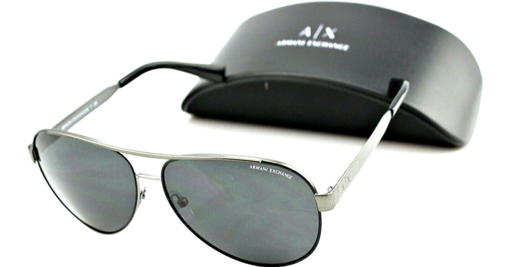 Armani Exchange Semi-Rimless Gunmetal Aviator Sunglasses