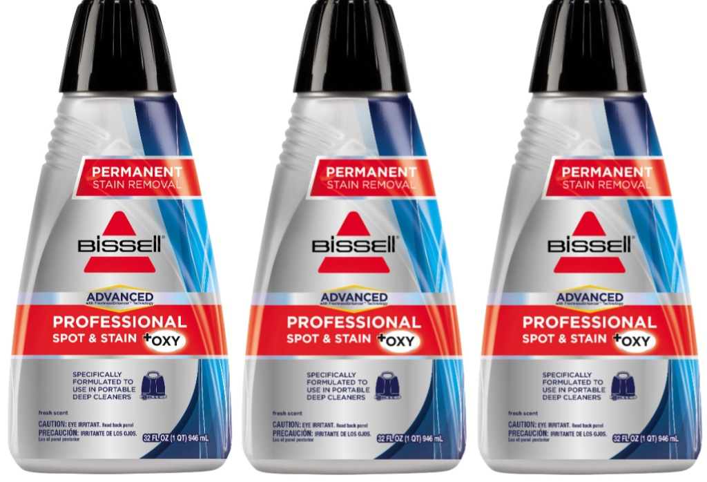 bottles of BISSELL Professional Spot and Stain + OXY Formula for Portable Spot Cleaners