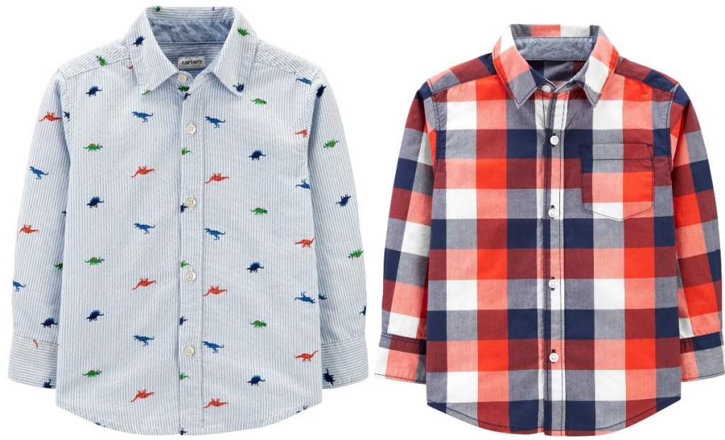 Two different styles of baby boys button-front shirts