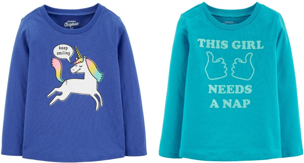 Two styles of baby girls graphic tees