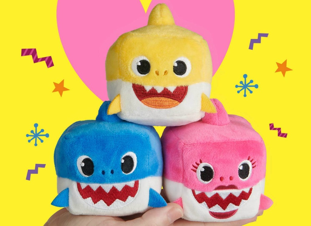 Baby Shark Plush Cubes in stack - all three characters