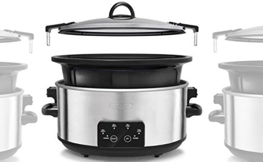 Stainless steel Slow cooker with lockable lid removed