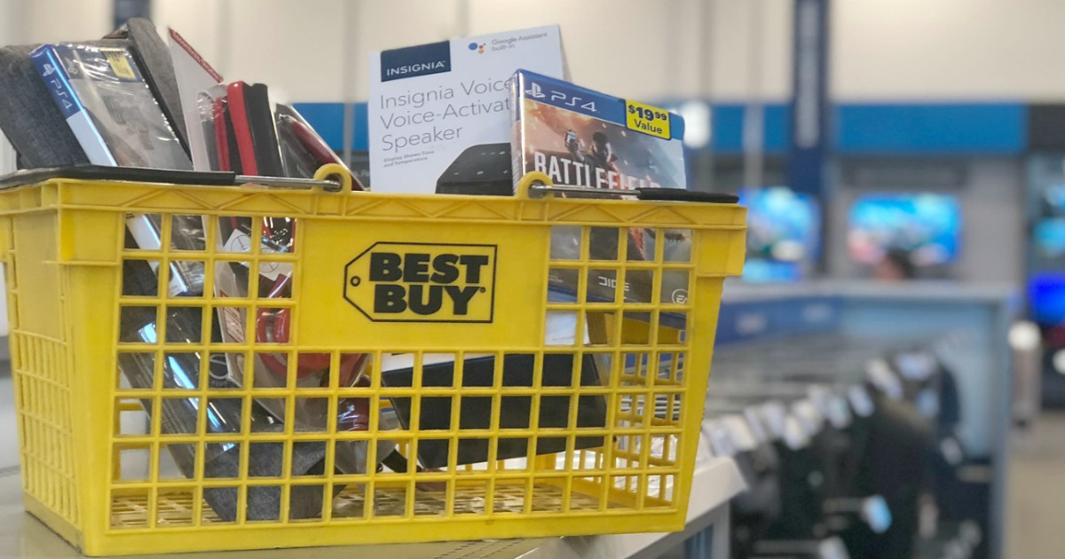 full yellow shopping basket in electronics store