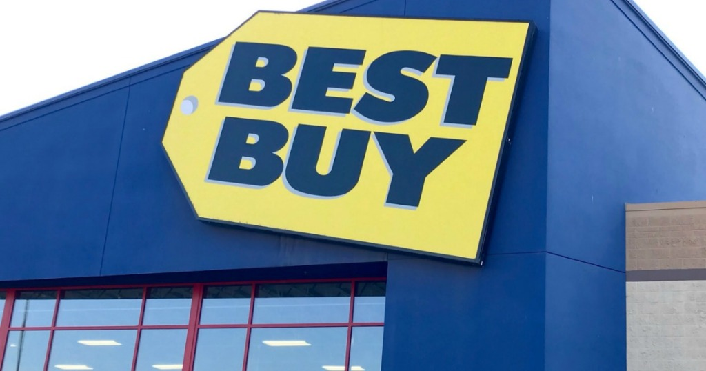 Outside view of Best Buy store front during the day