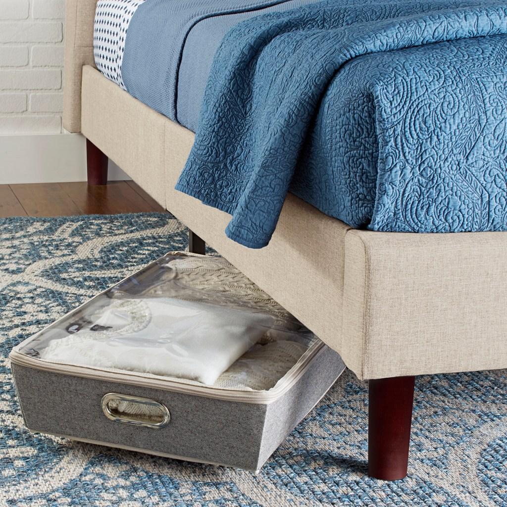 Better Homes & Gardens Beige Platform Bed King with storage space