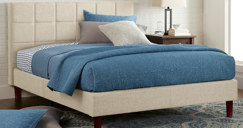 Beige upholstered bed platform bed