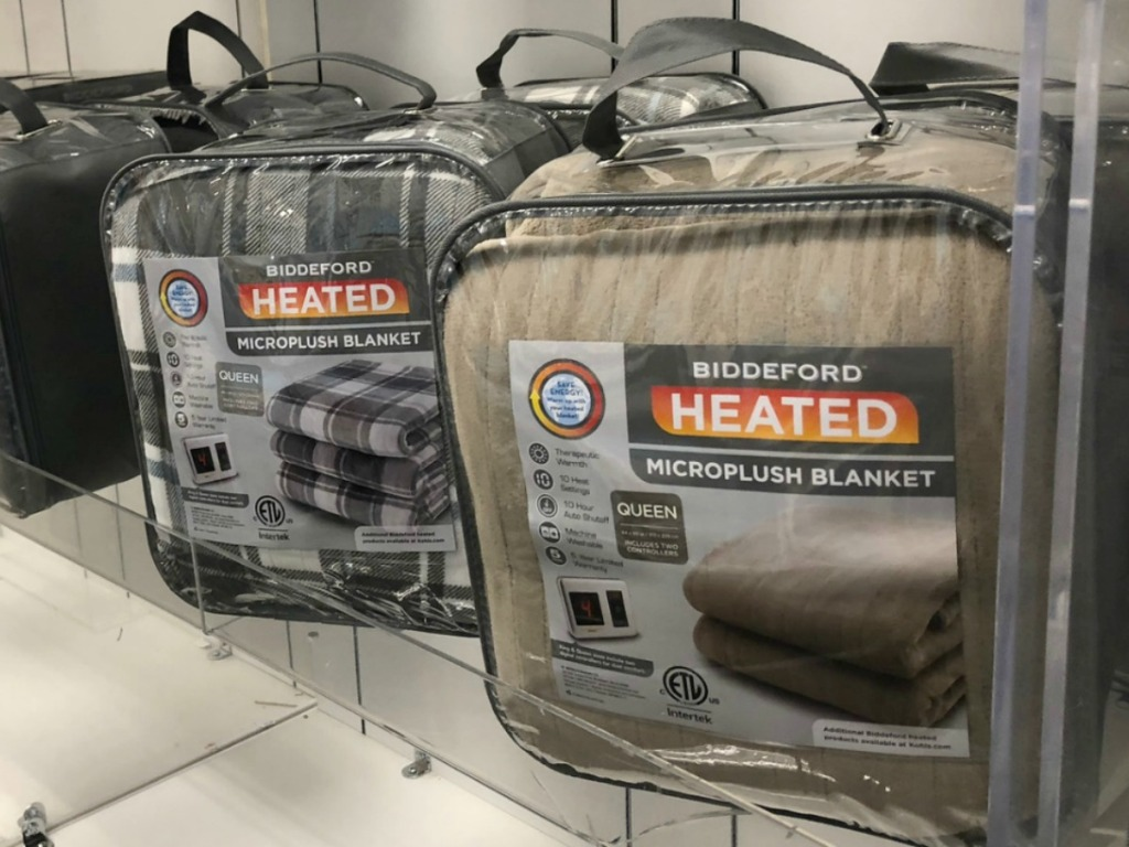 In-store display of heated blankets in packaging