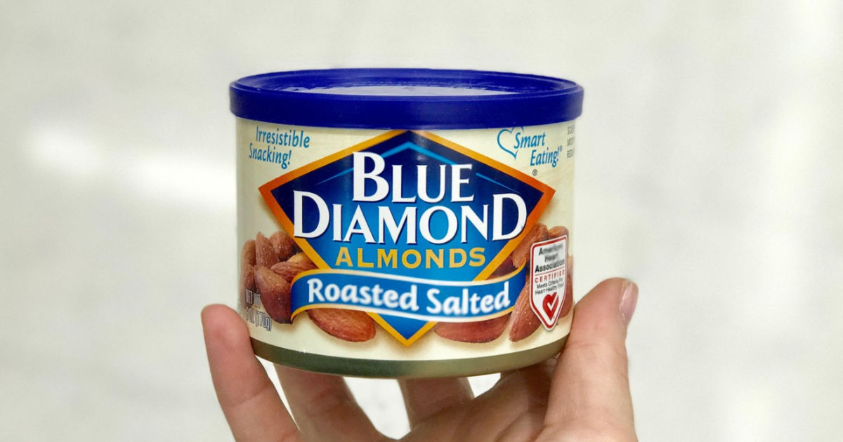 hand holding Blue Diamond Almonds Roasted Salted