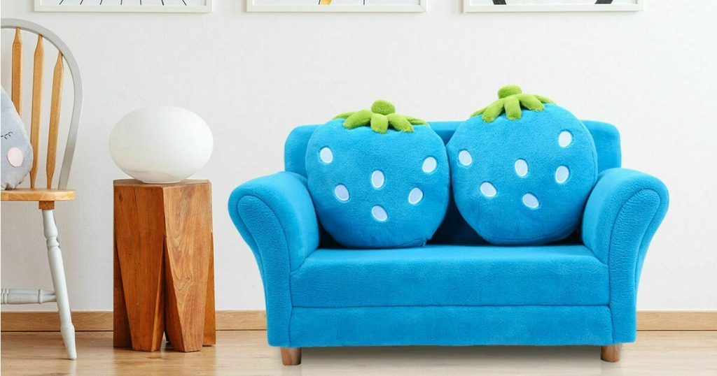 Blue Strawberry Sofa in kid's play area
