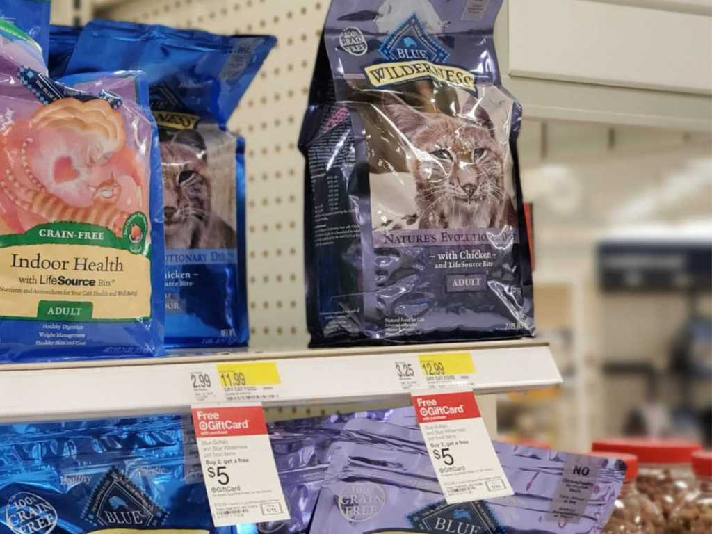 Blue Wilderness Cat Food on shelf at target