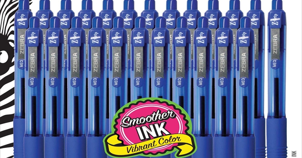 Twenty four blue, Z Grip Ballpoint pens. set out in two rows