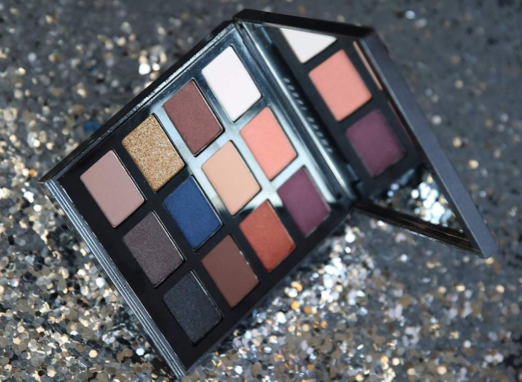 Bobbi Brown Night Drama Eyeshadow Palette with silver glitter background