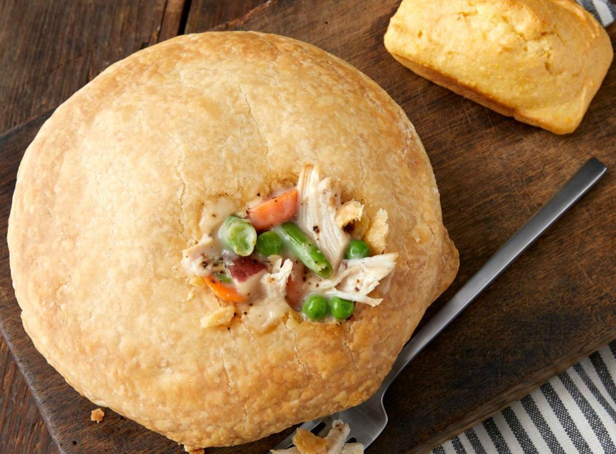 Boston Market chicken pot pie with fork full
