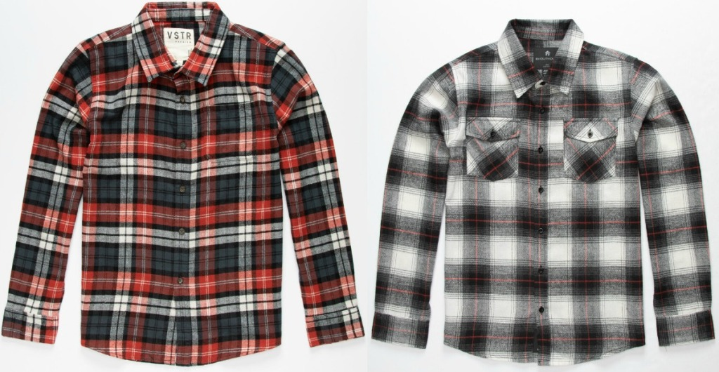 Two styles of boys flannel shirts