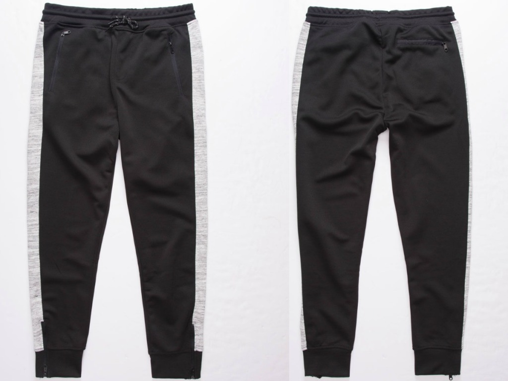 Front and back view of boys jogger pants in black