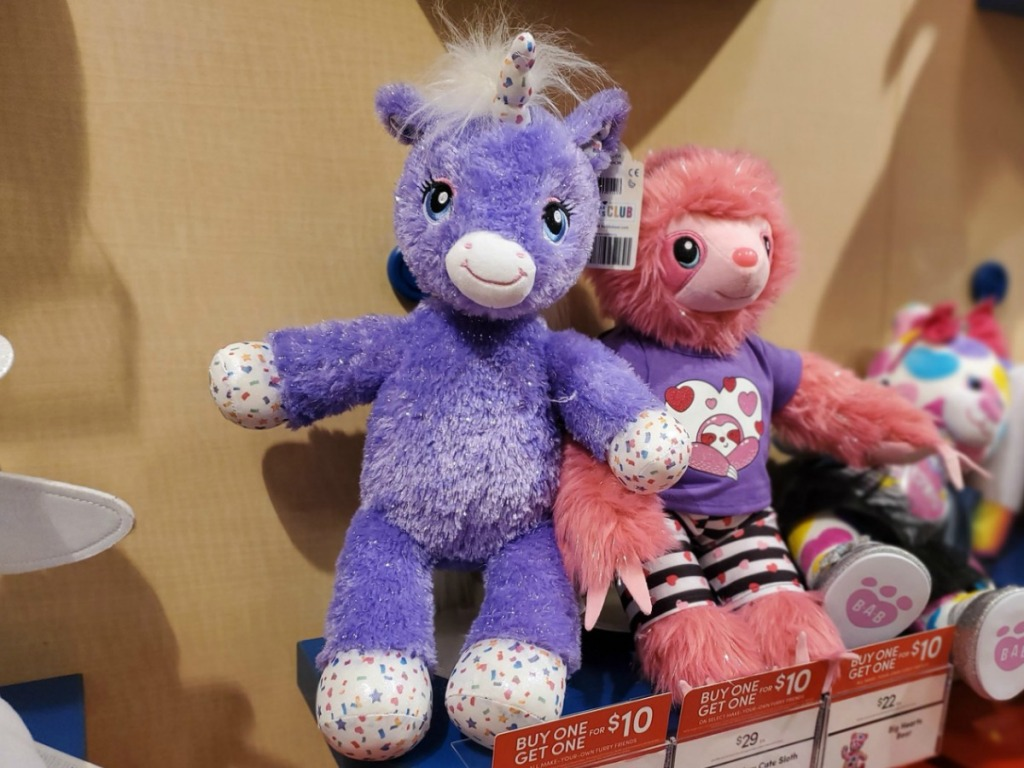 Unicorn and Sloth plus on display at Build-A-Bear