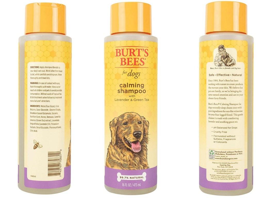Burt's Bees brand dog shampoo bottle - three angles