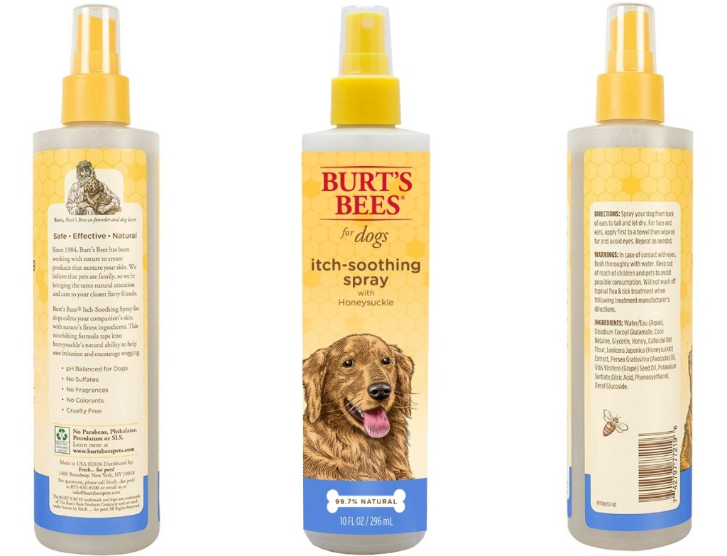 Bottle of anti-itch dog spray at three angles