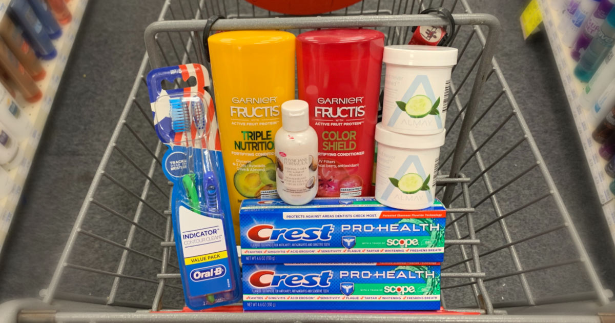 Personal care products in basket