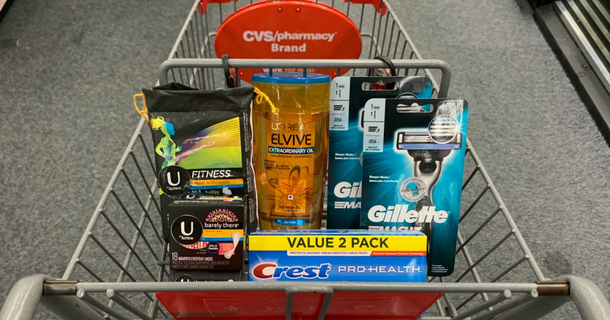 Shampoo, toothpaste, razors and feminine care products in basket