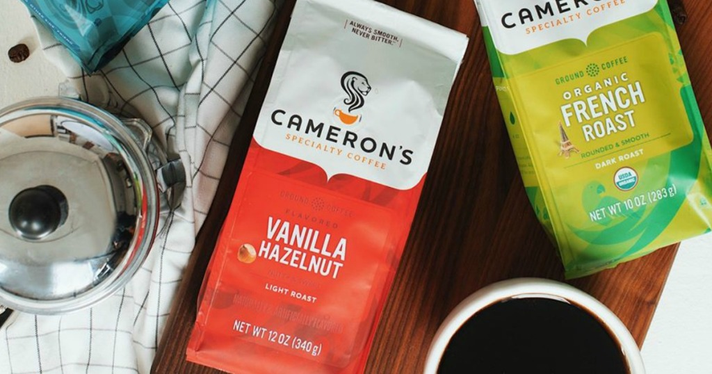 Cameron's Vanilla Hazelnut by bag of Cameron's coffee and cup