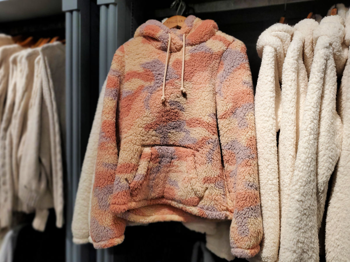 Camo Sherpa Hoodie Hollister in store