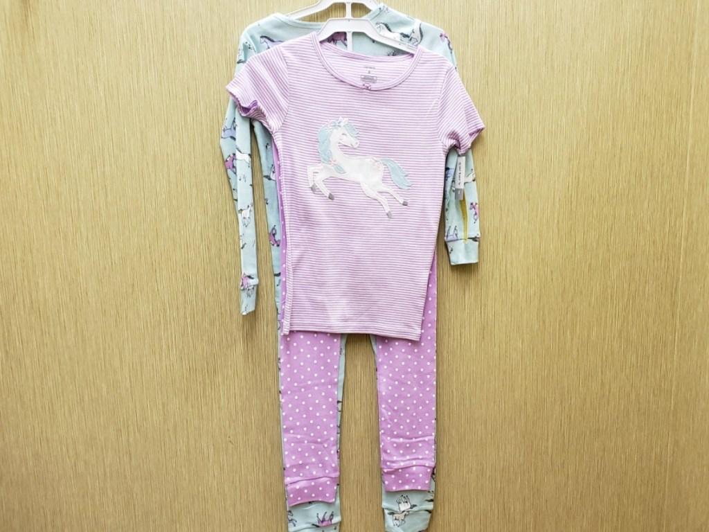 Unicorn themed pajamas in a 4-piece set