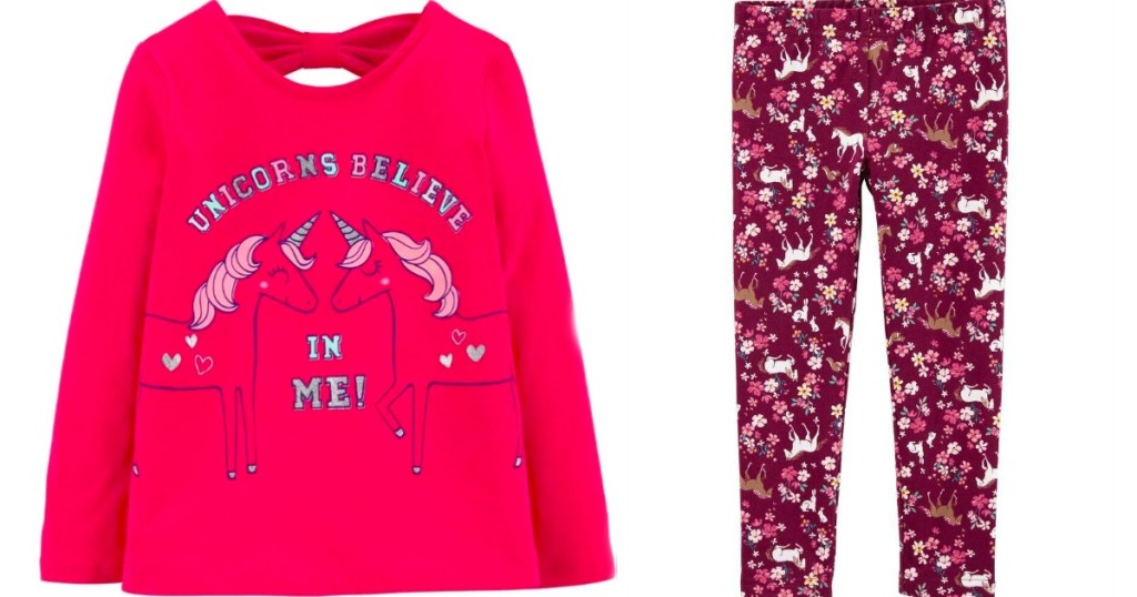 shirt with unicorns on it and leggings with unicorns and flowers
