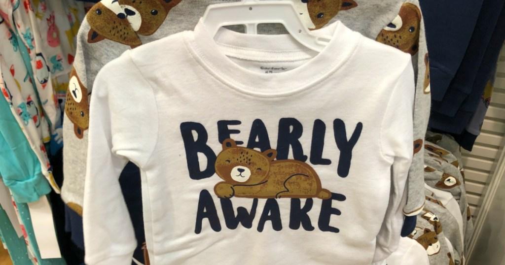 Carter's Bearly Awake Pajamas on hanger