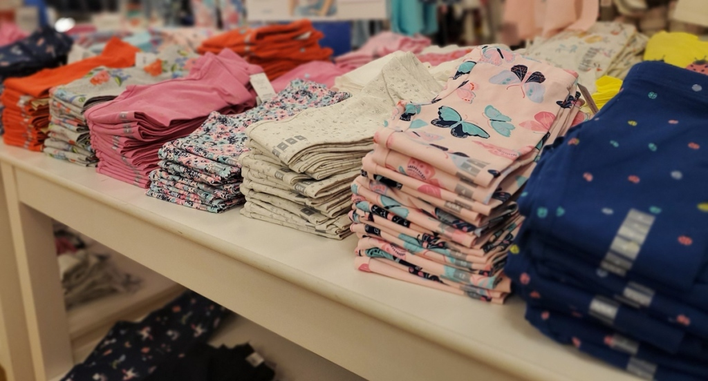 Carter's Girls Leggings on a table at the store