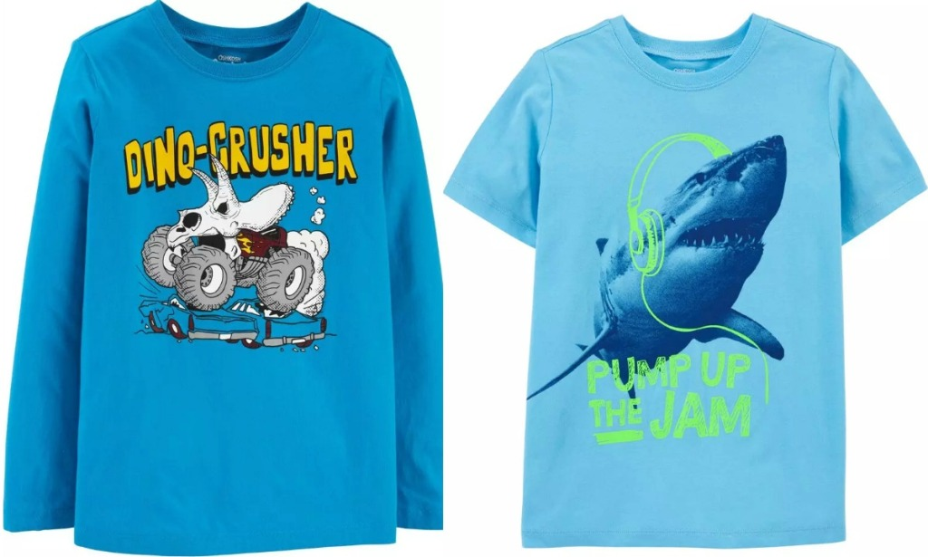 Two styles of boys graphic tees