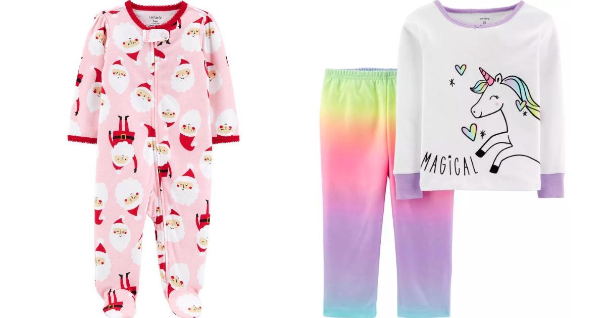 one piece Santa pajamas and two piece unicorn pajamas