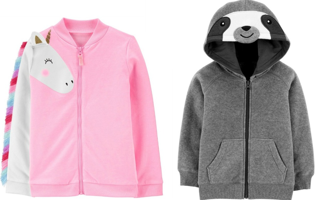 Two styles of Carter's jackets - unicorn & sloth