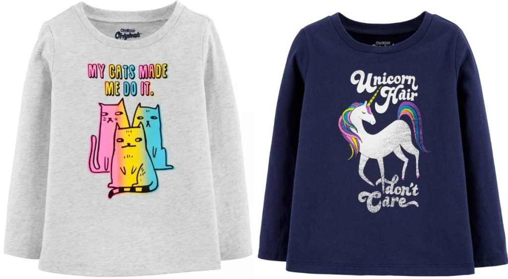Two styles of toddler girls graphic tees