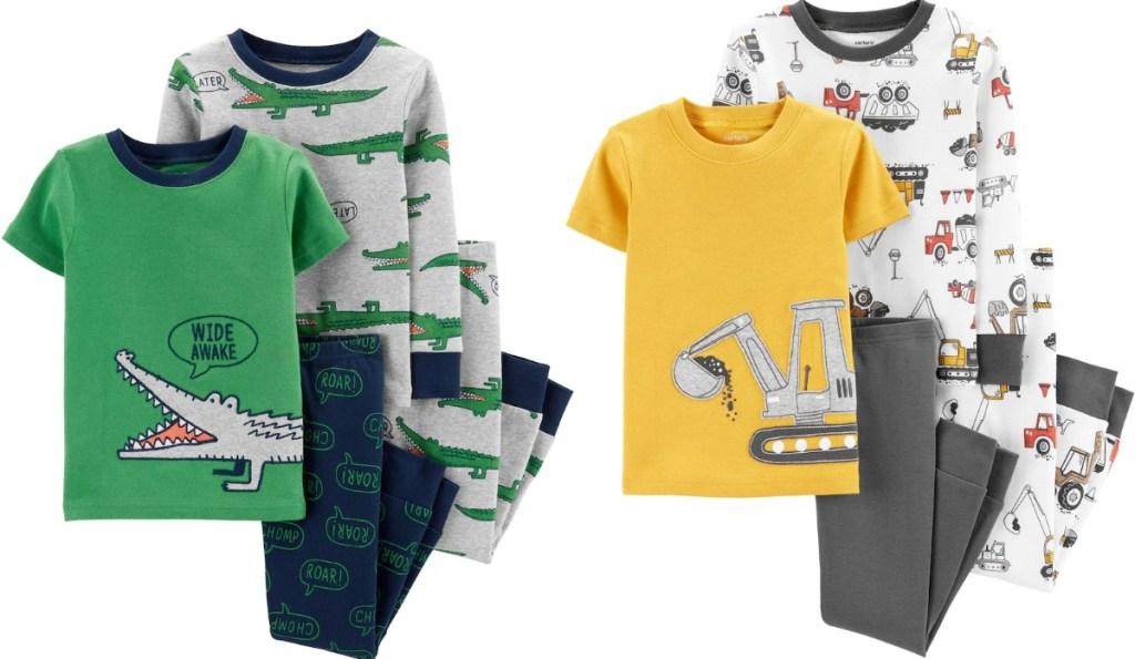 Two styles of toddler boys 4-piece pajamas