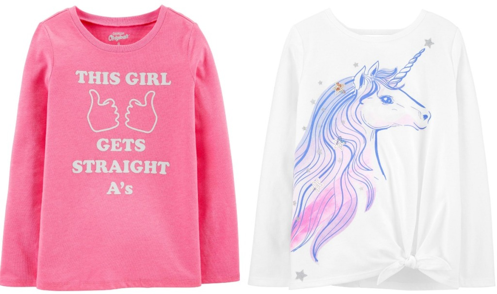 Two styles of girls graphic tees from Carter's