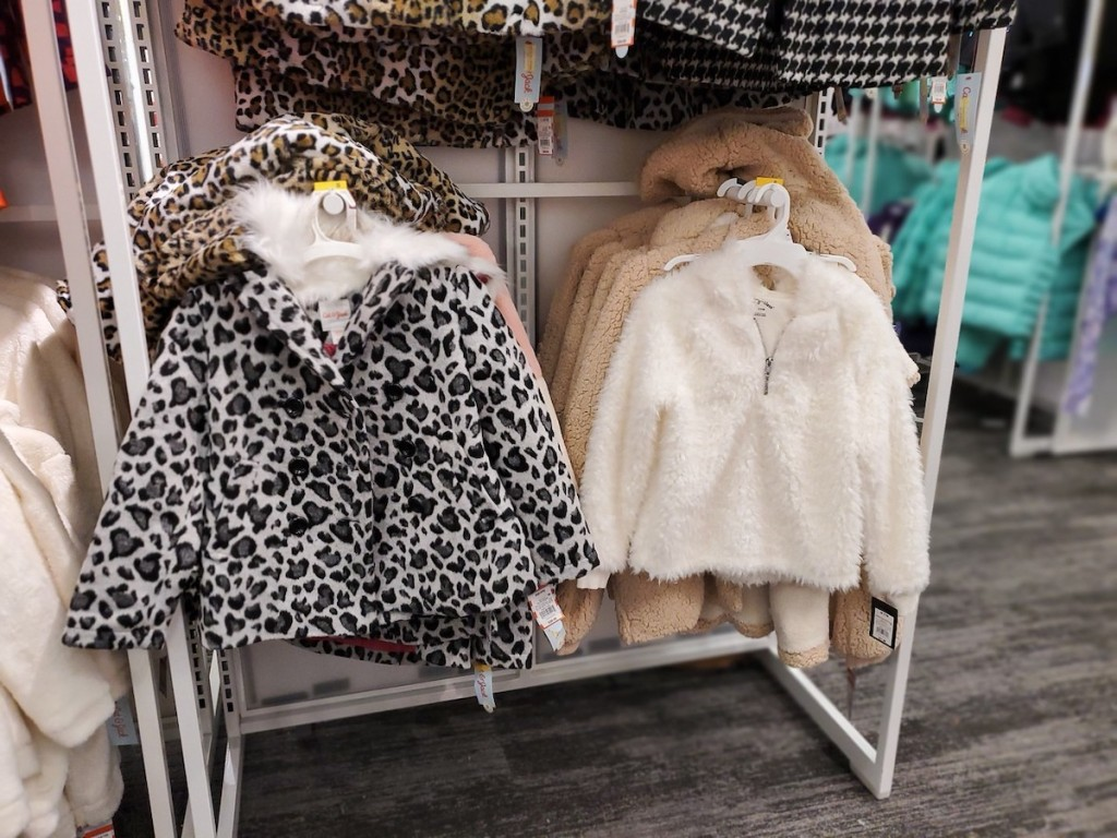 Cat & Jack Girls Leopard Print Faux Fur Jacket in target with white and oatmeal colored jackets