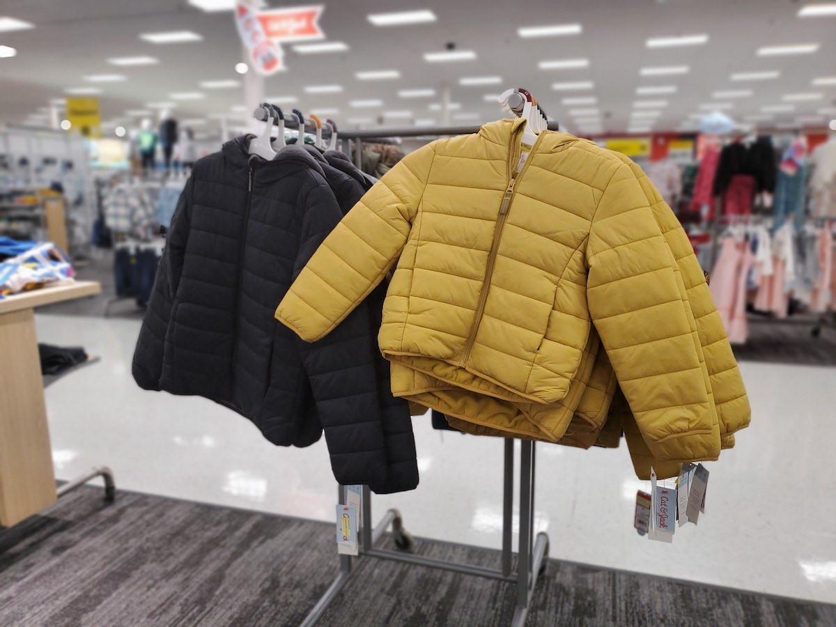 Cat & Jack Kids Lightweight Puffer Jacket in Yellow and black in target