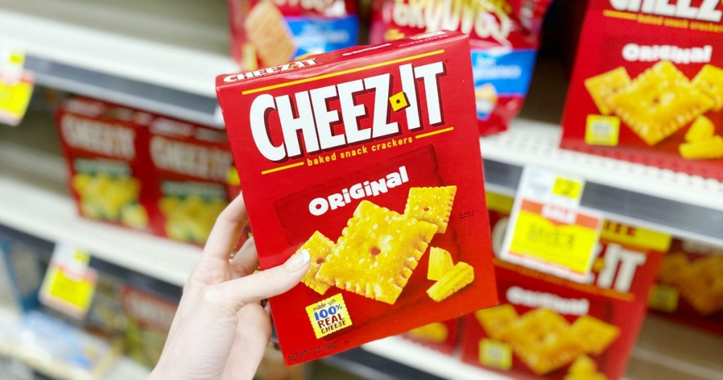 hand holding box of CheezIt Crackers at Dollar General