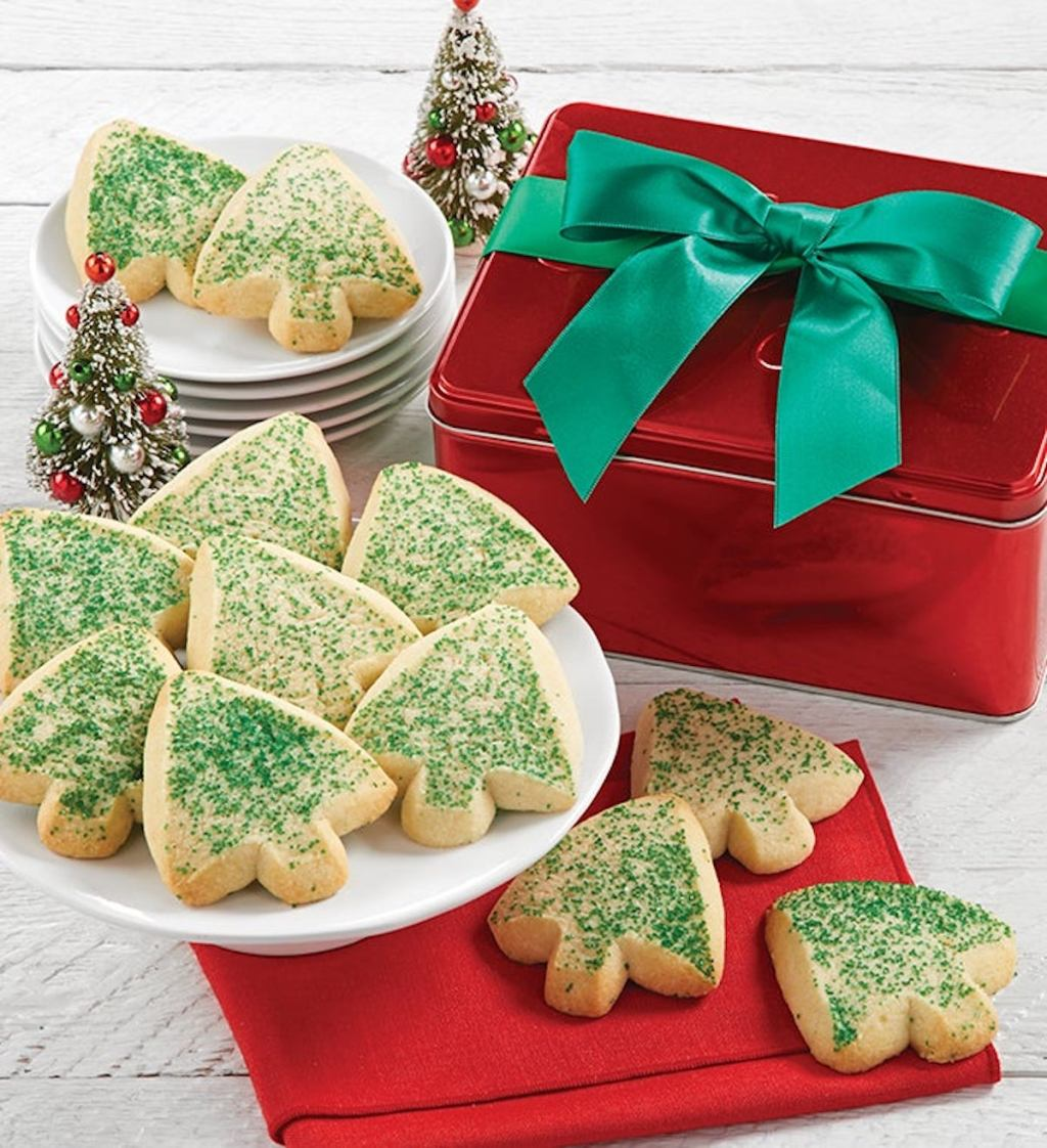 Cheryls Butter Shortbread Cookies Gift Tin with red tin box and green bow
