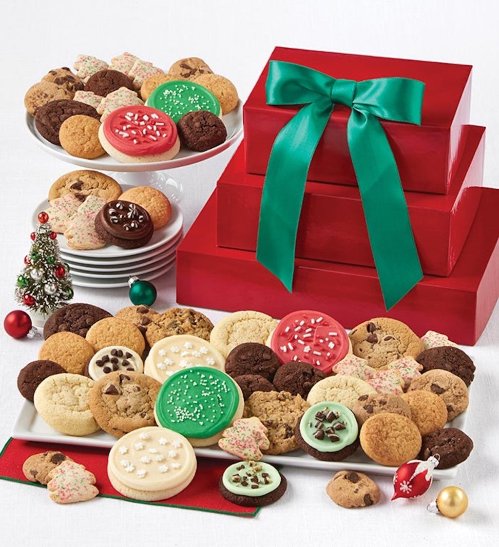 Chery's Cookies Classic Holiday Gift Tower with red boxes and green bow