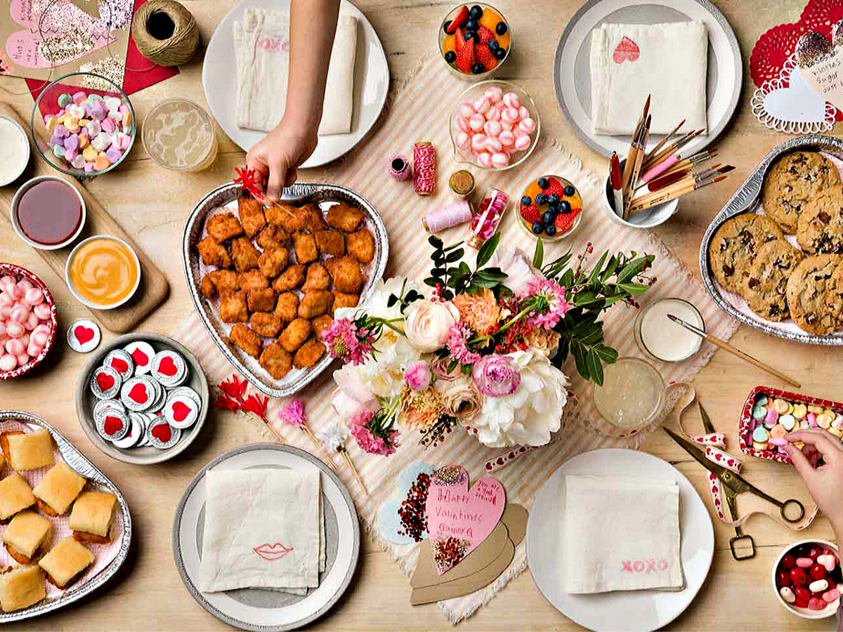 Chick-Fil-A Valentine's Day table with foods