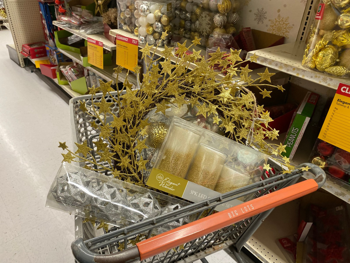 big lots cart full of christmas decorations