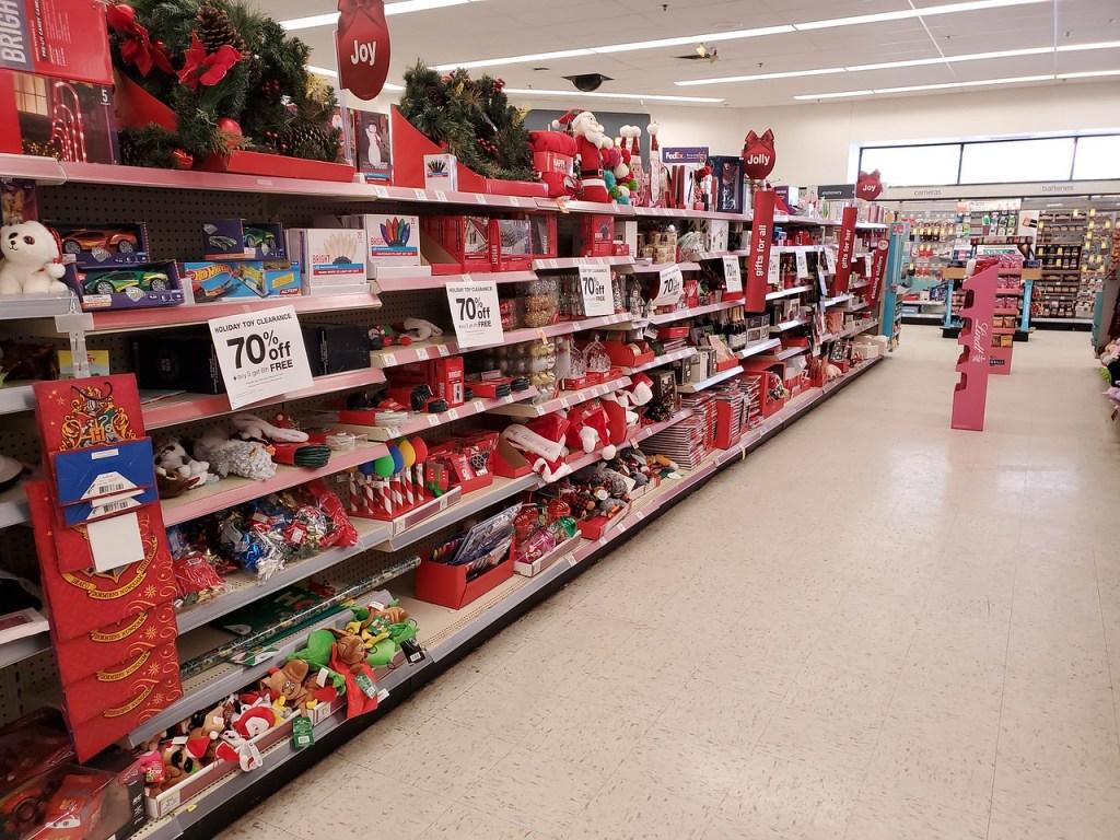 Christmas Clearance aisle at Walgreens