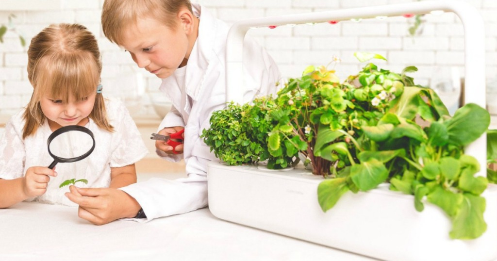 Two kids with a magnifying glass next to a Click & Grow indoor gardening set