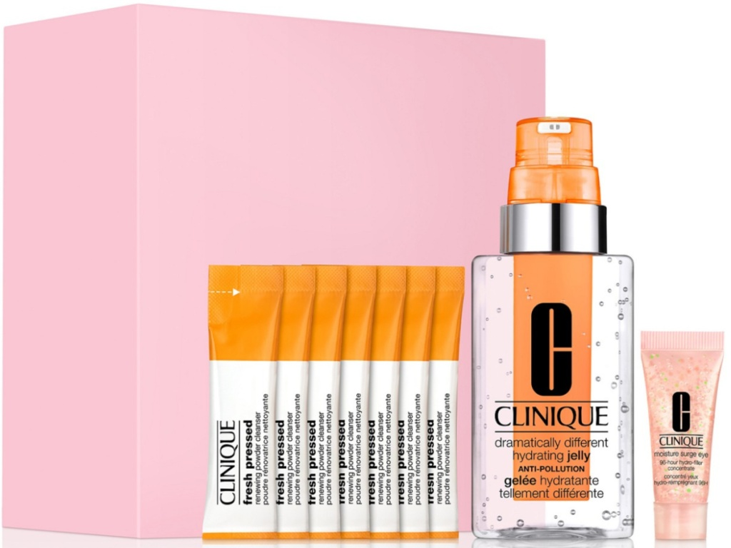 clinique gift set with pink box and contents beside box